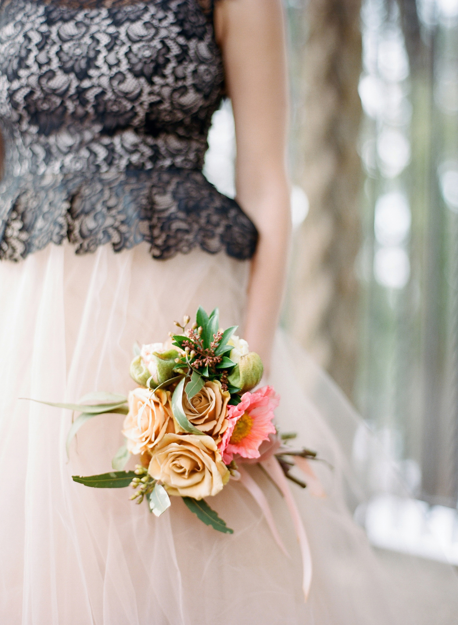 nhan khanh blush and black bridal dress
