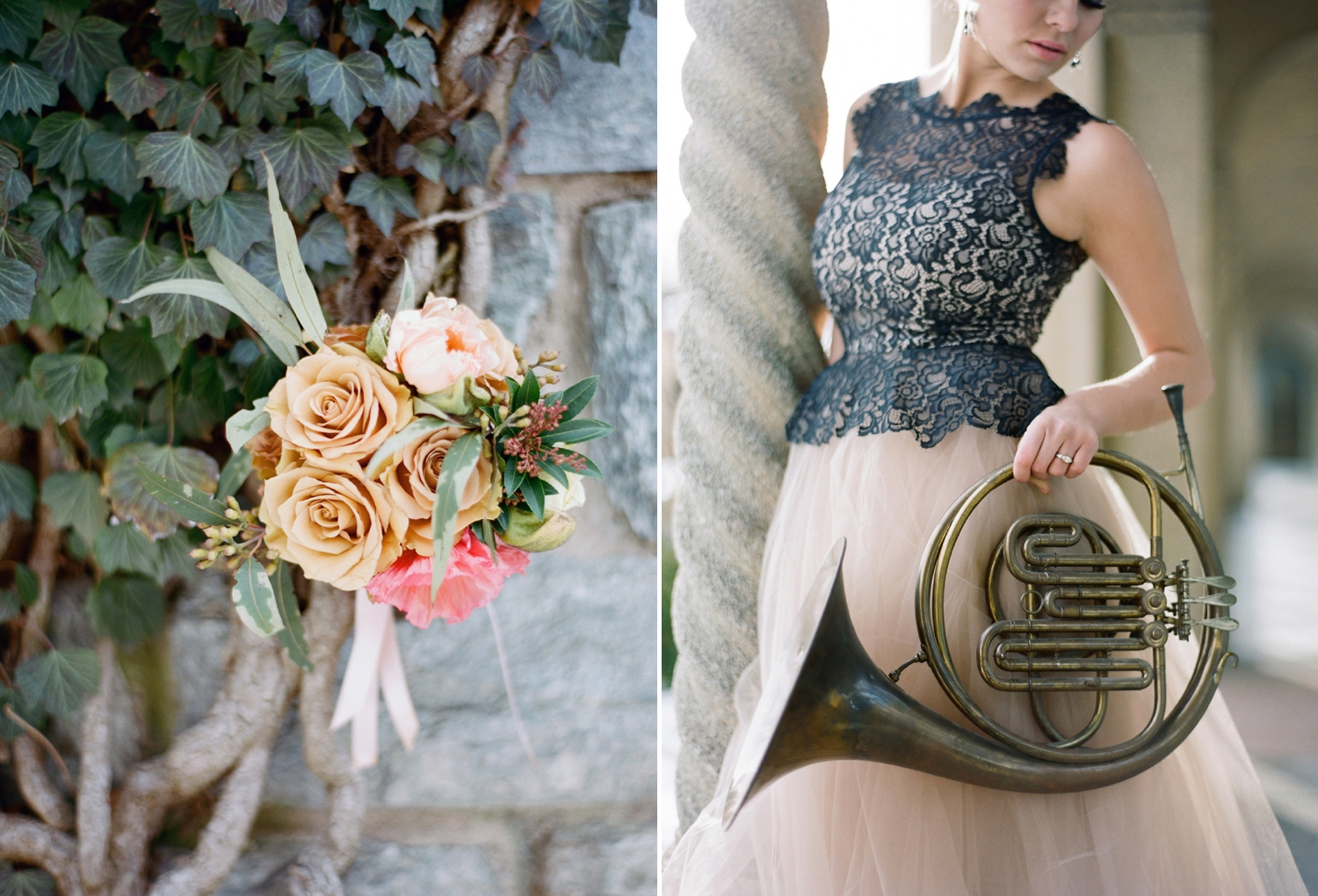 french horn bridal inspiration shoot