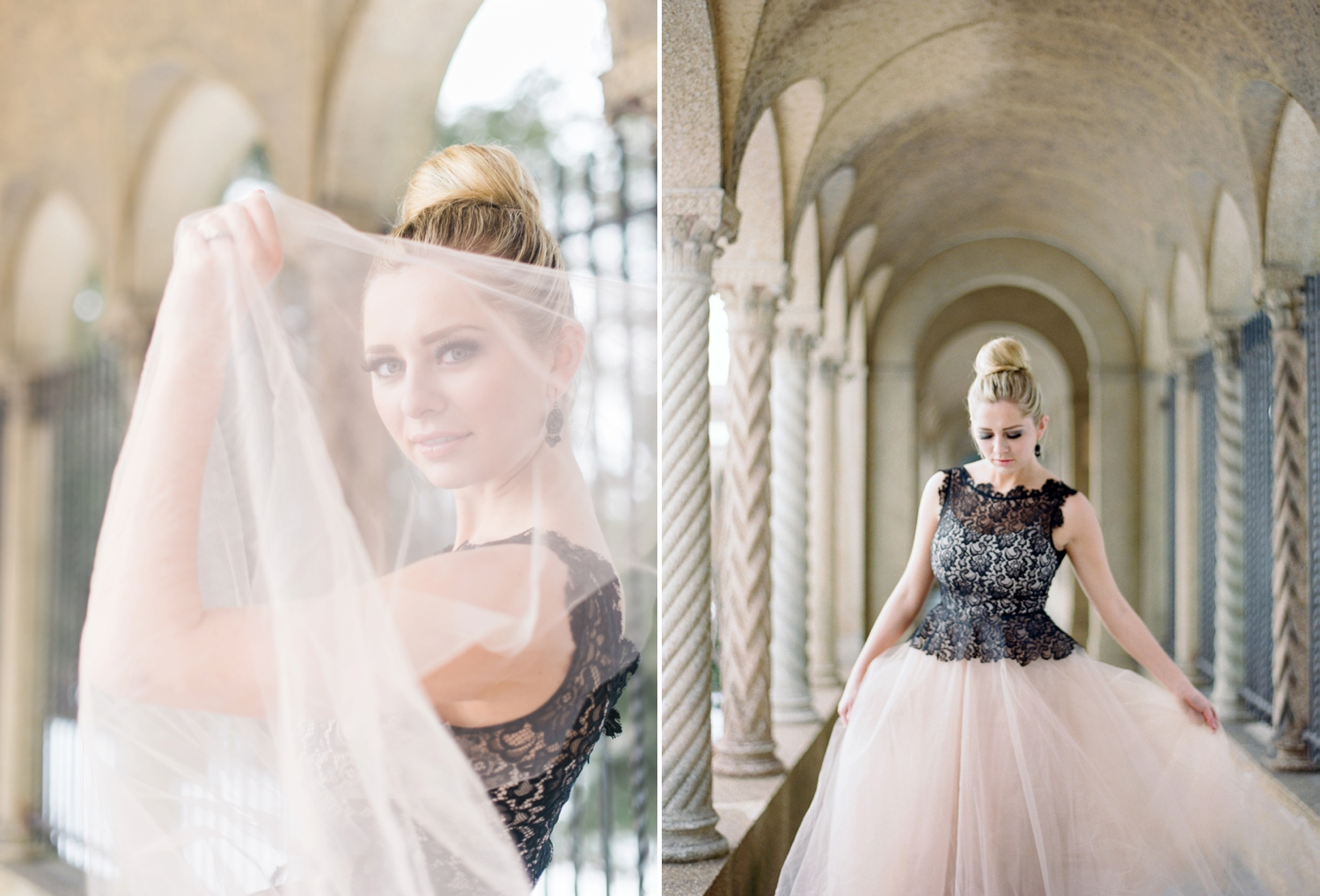 blush and black bridal inspiration shoot on film