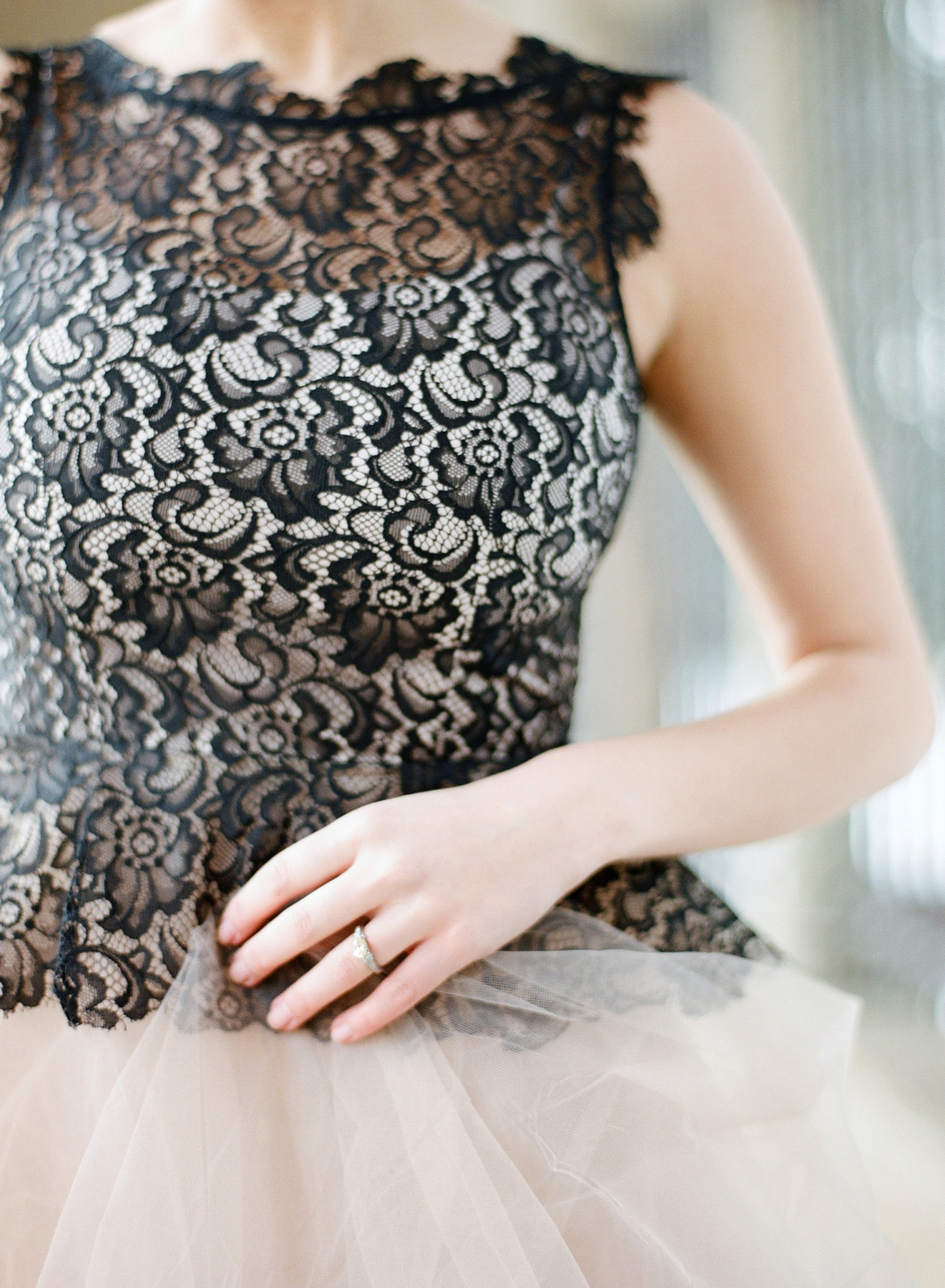 black and blush nahn khanh gown