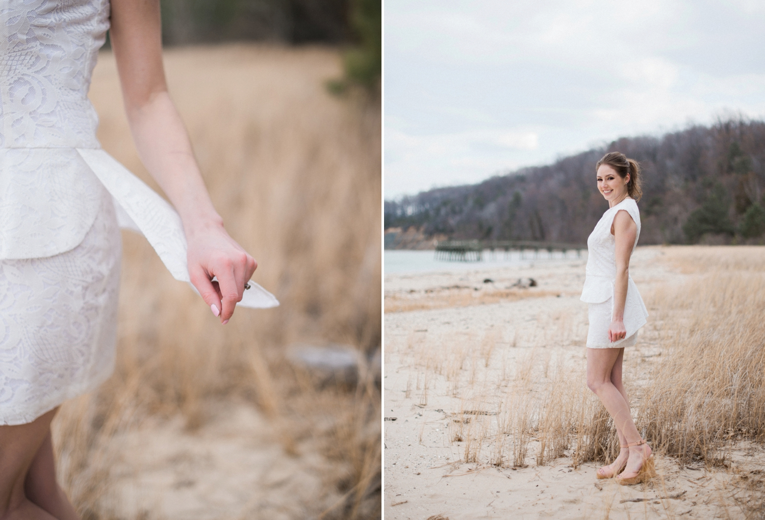 BCGB dress for engagement photos on the beach