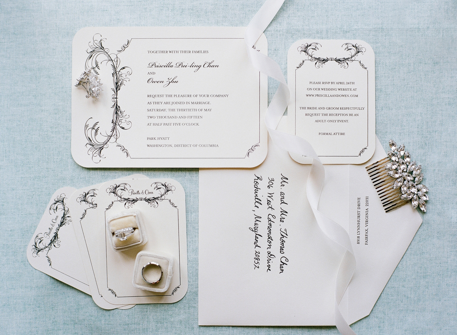 mint and ivory invitation suite