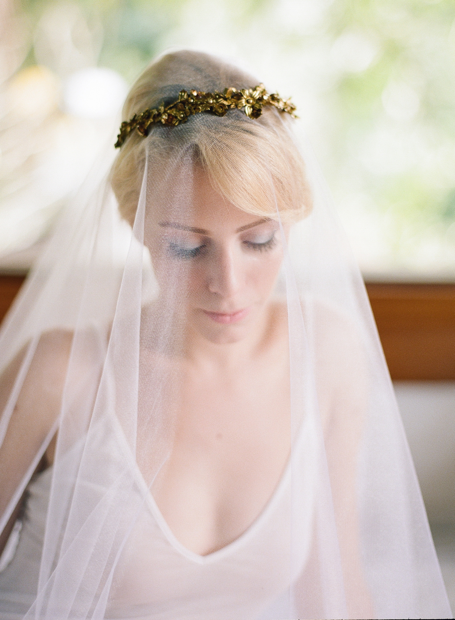 custom gold bridal headpiece
