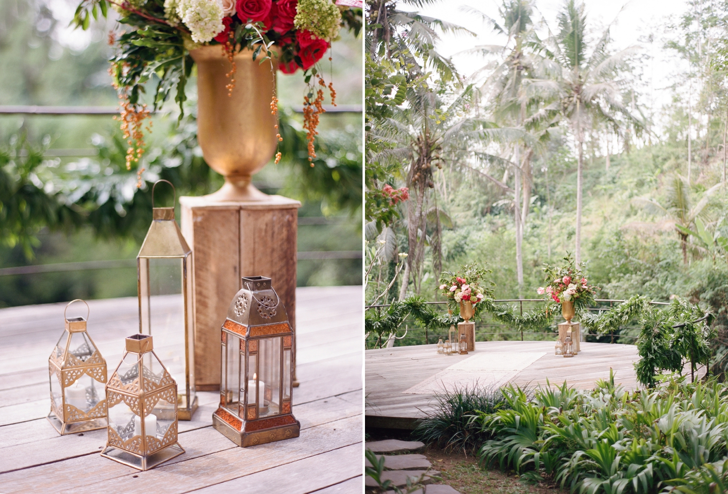 golden lanterns ceremony decor