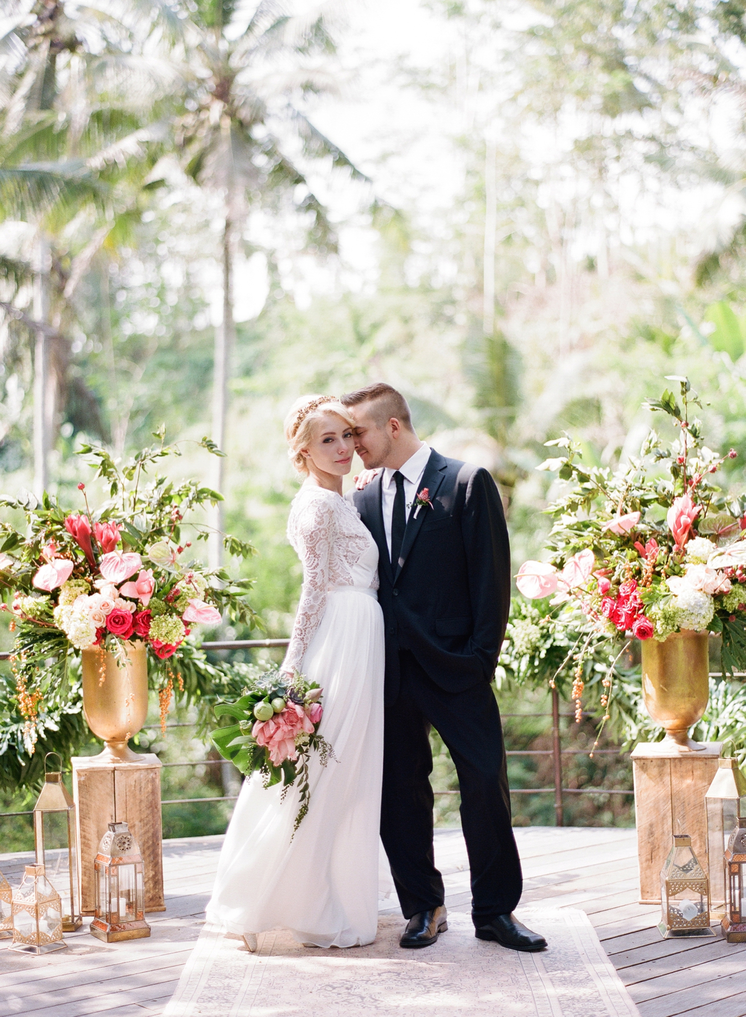 tropical destination wedding photos on film