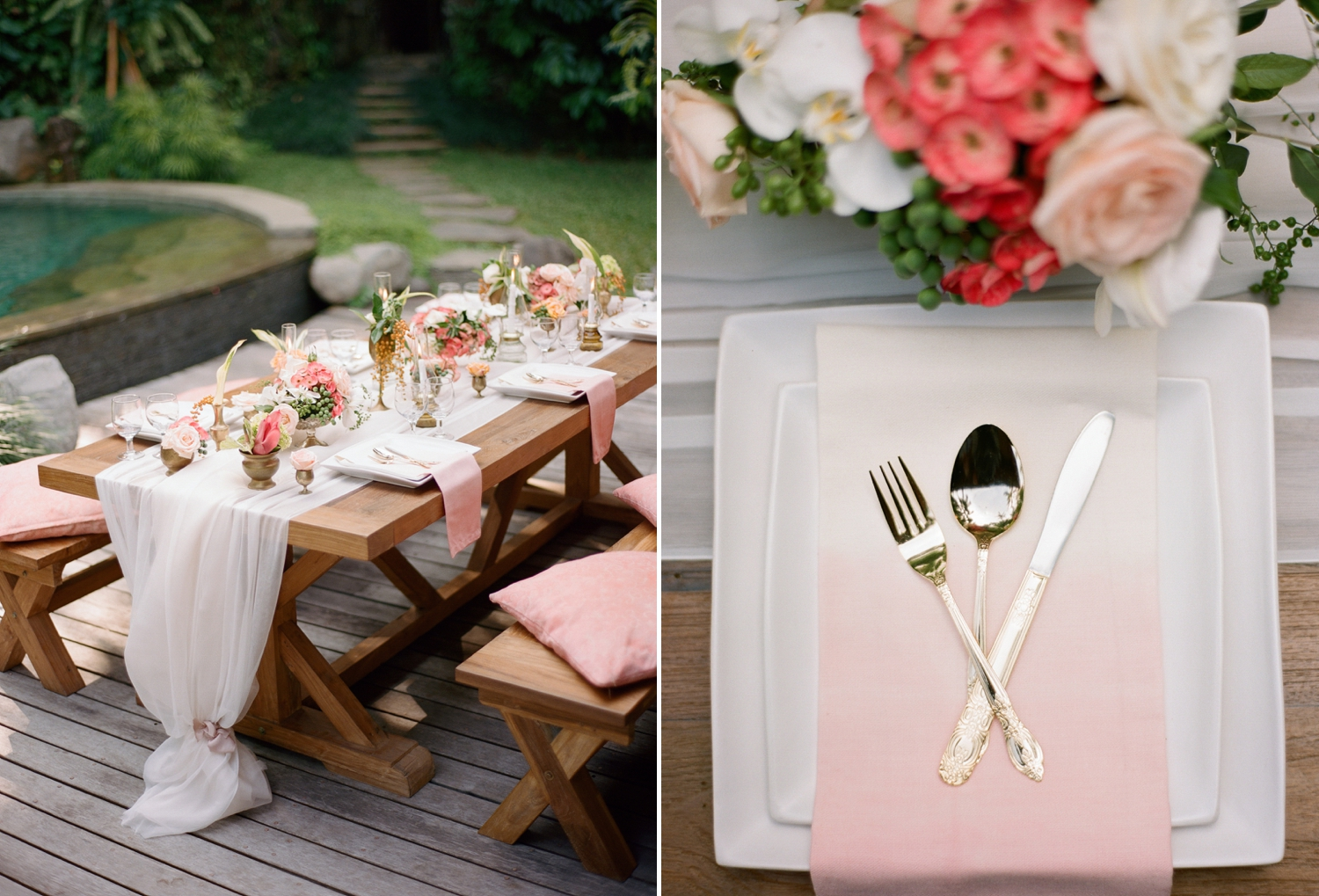 ombre napkins wedding inspiration