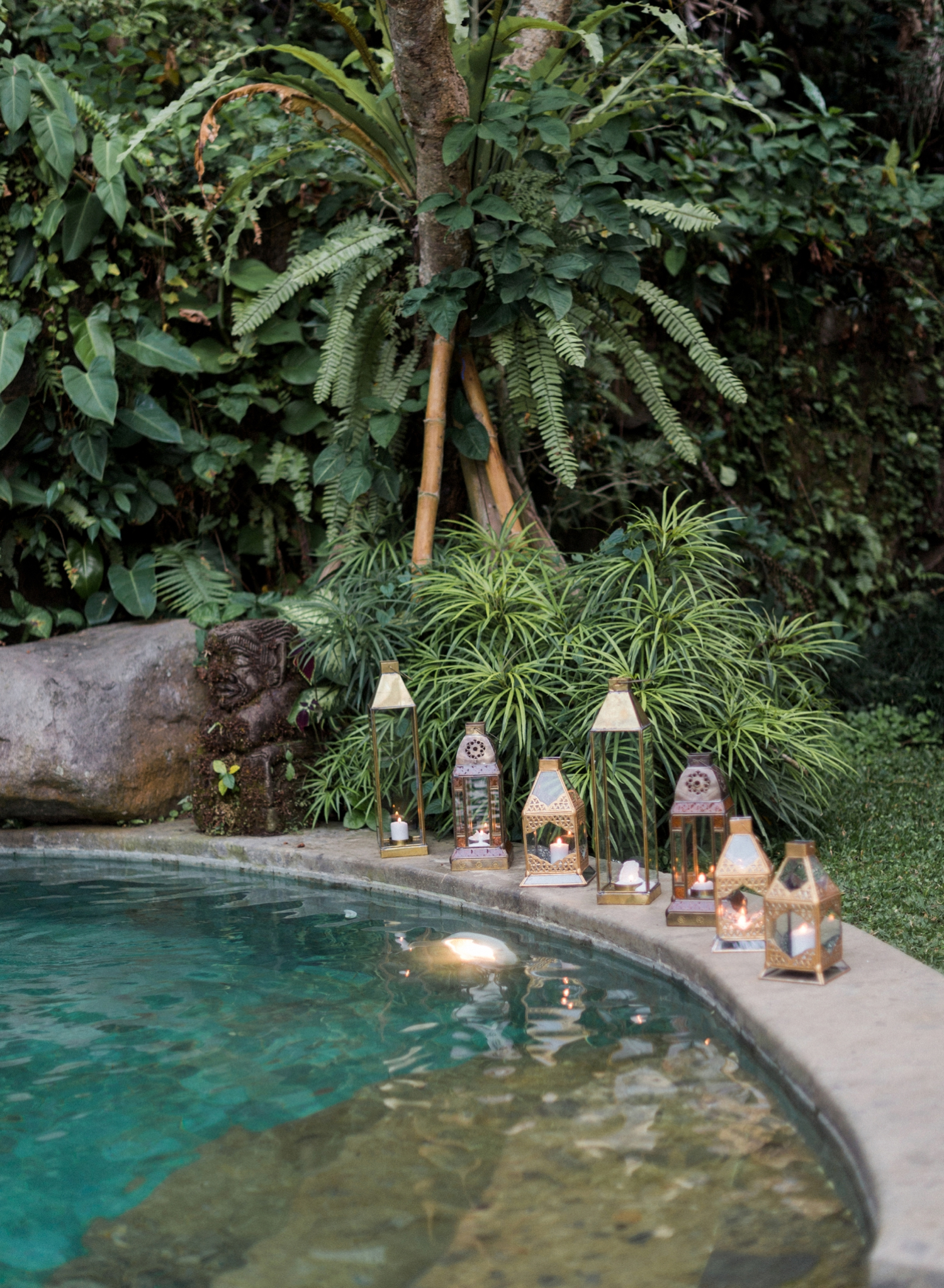bali elopement photos by the pool