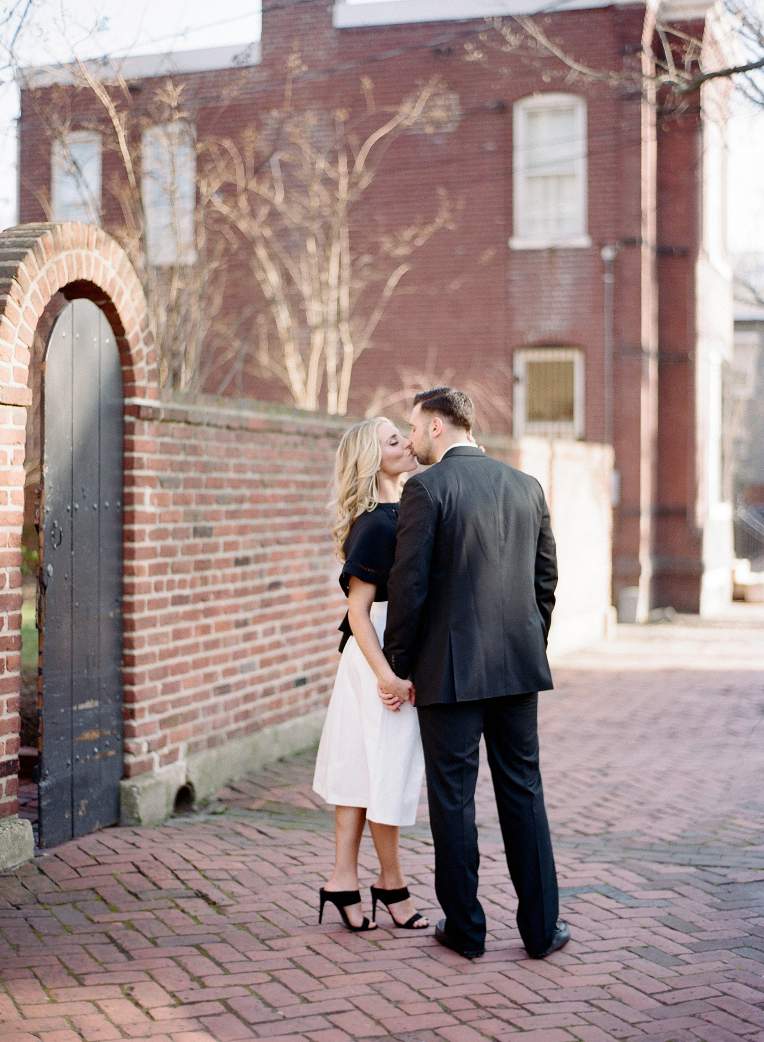 black and white engagement session in old town