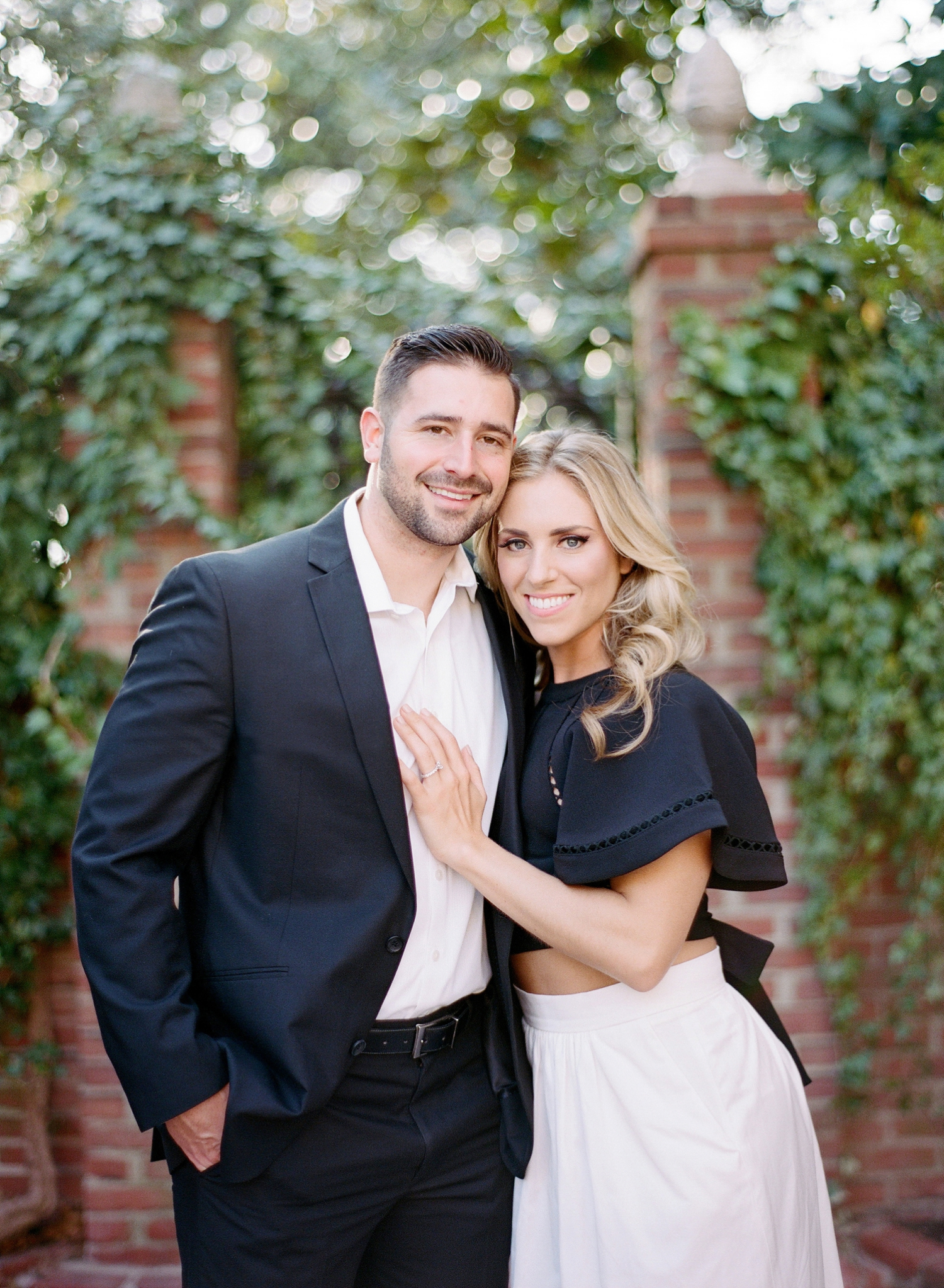 black and white engagement style, virginia film photographer