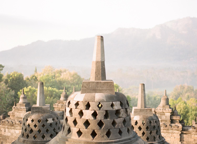 Borobudur temple in Indonesia, on film