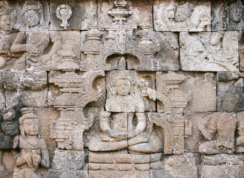 stone temple Borobudur temple in Indonesia, on film