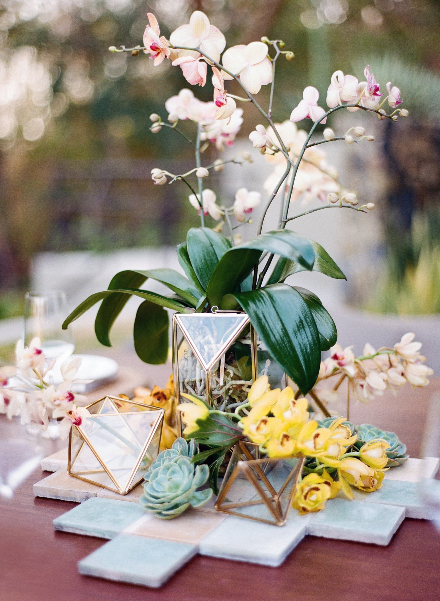 tropical geometric wedding inspiration flowers