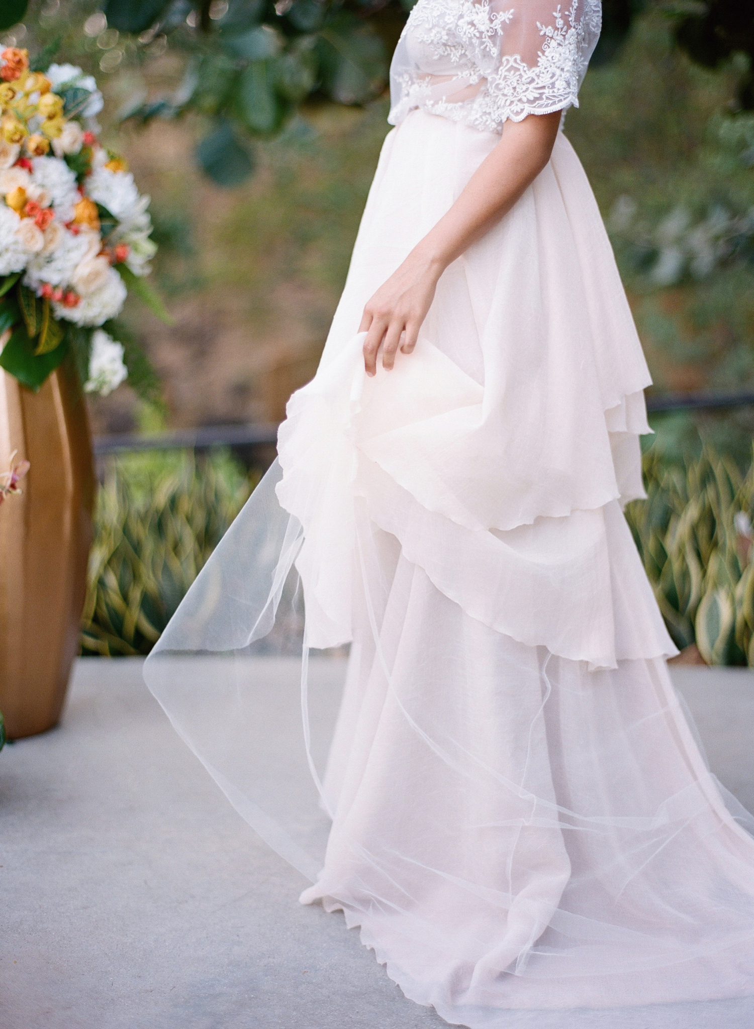 custom blush gown wedding inspiration