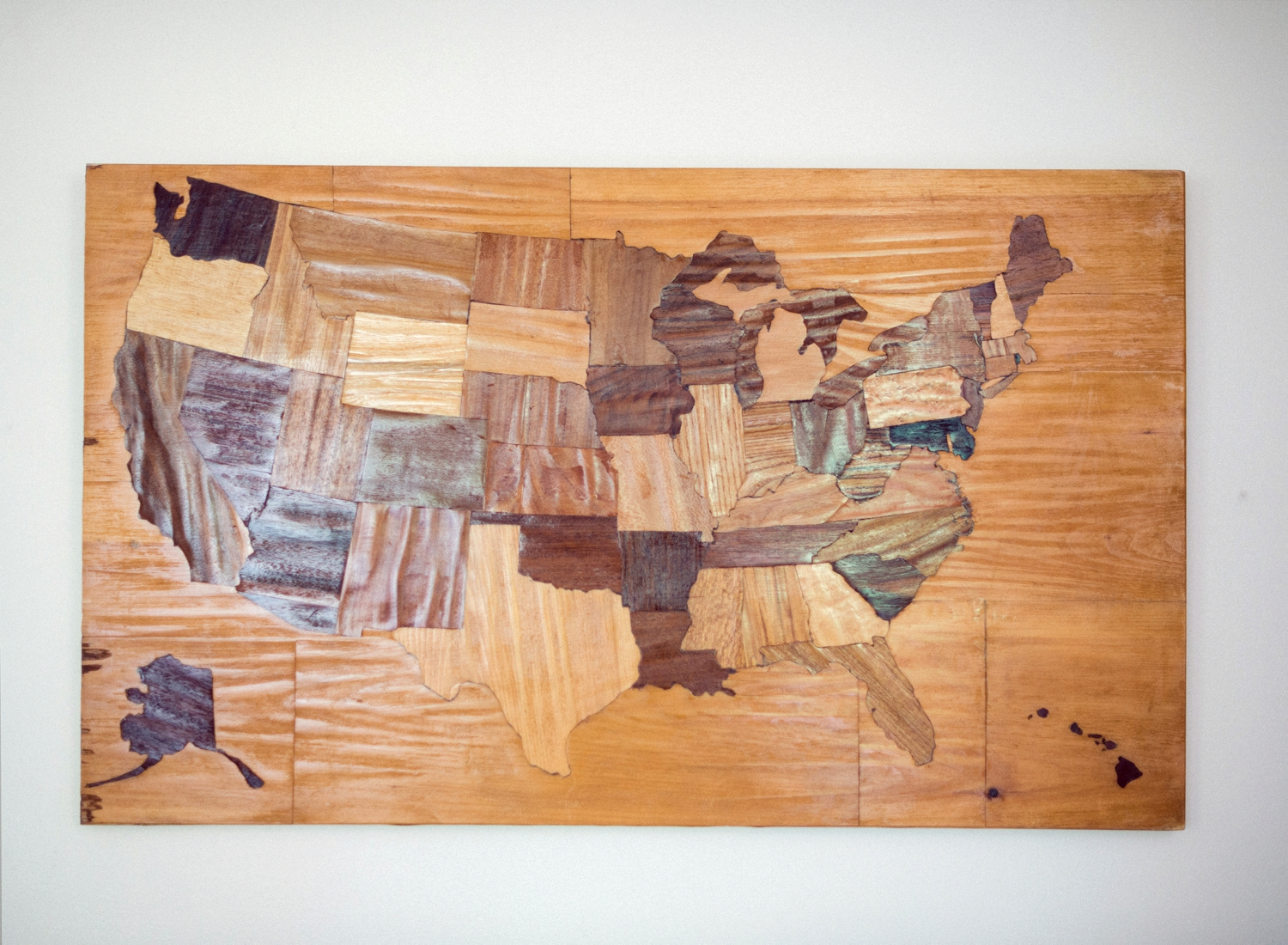 vintage america map on wood