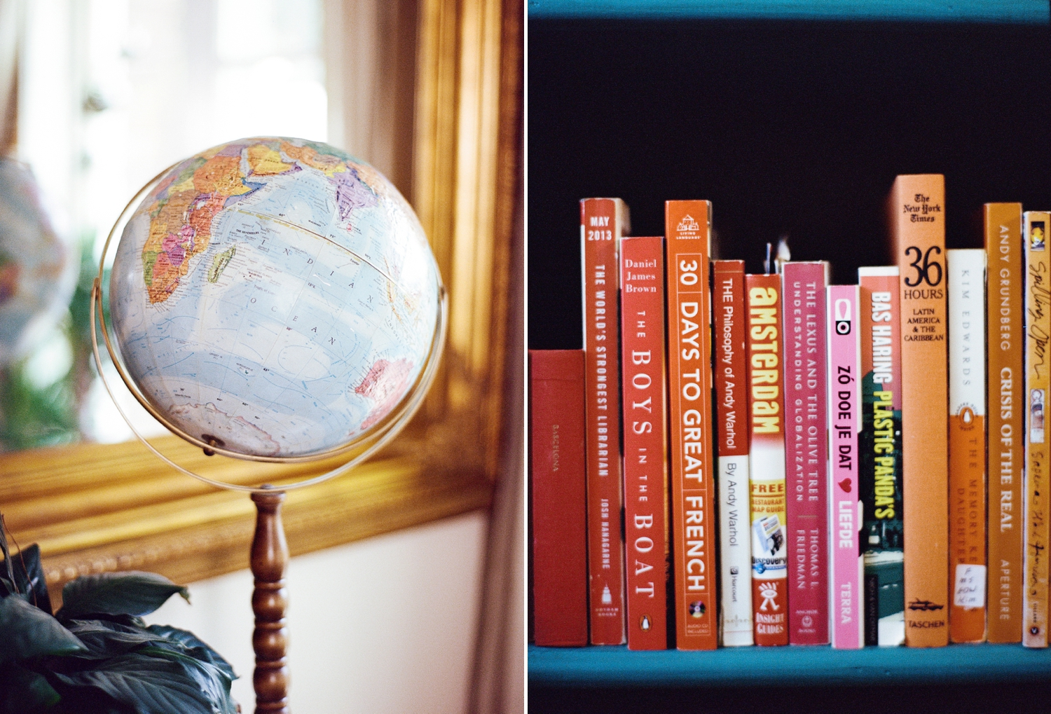 Color coordinated Books with globe