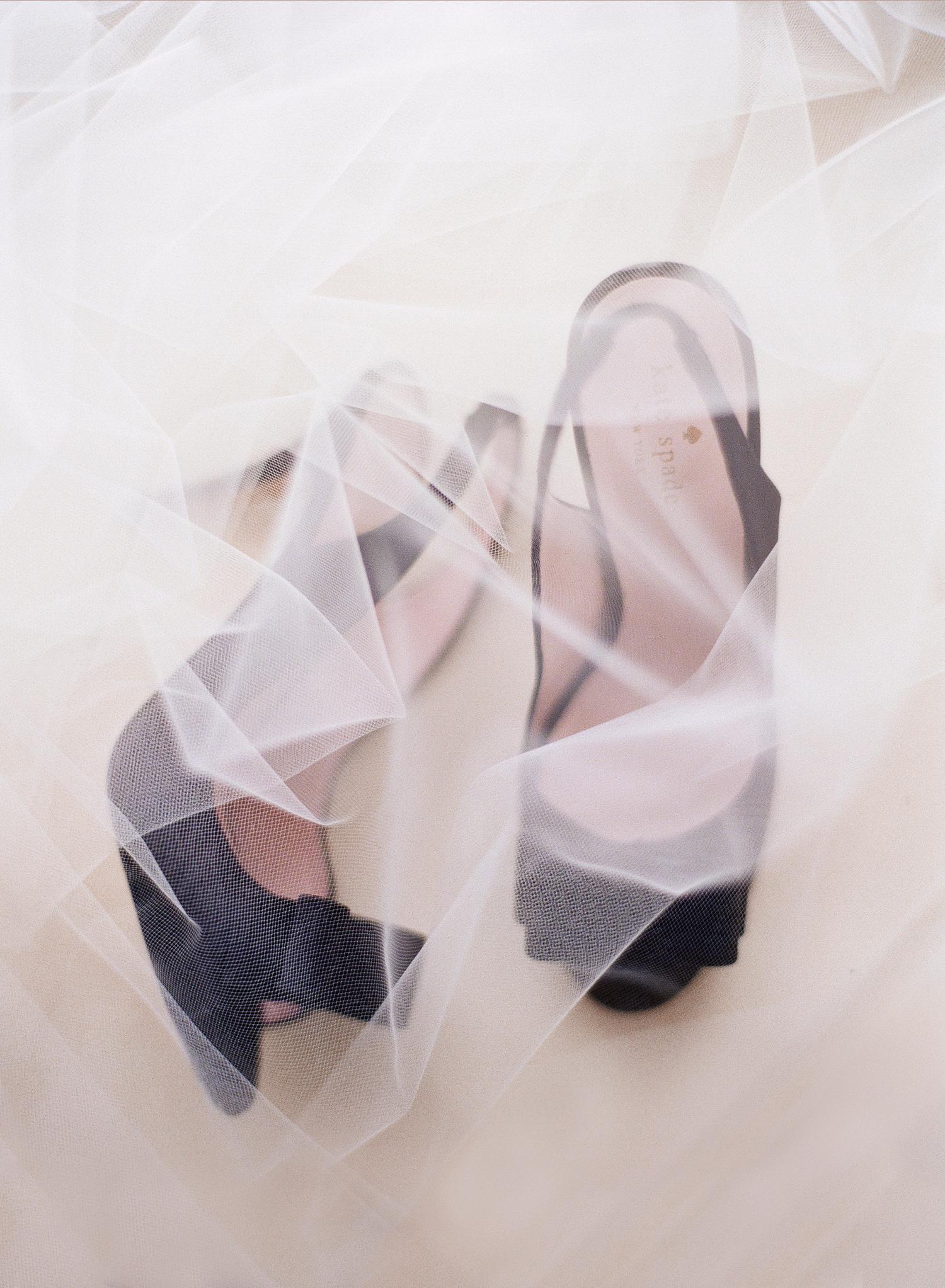 kate spade bridal heels, black bow