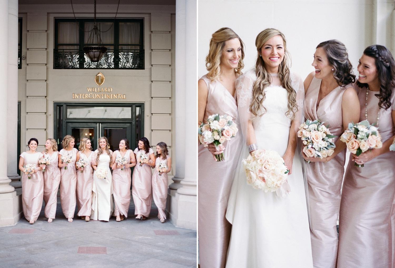 willard dc wedding, blush bridesmaids, fine art film photography