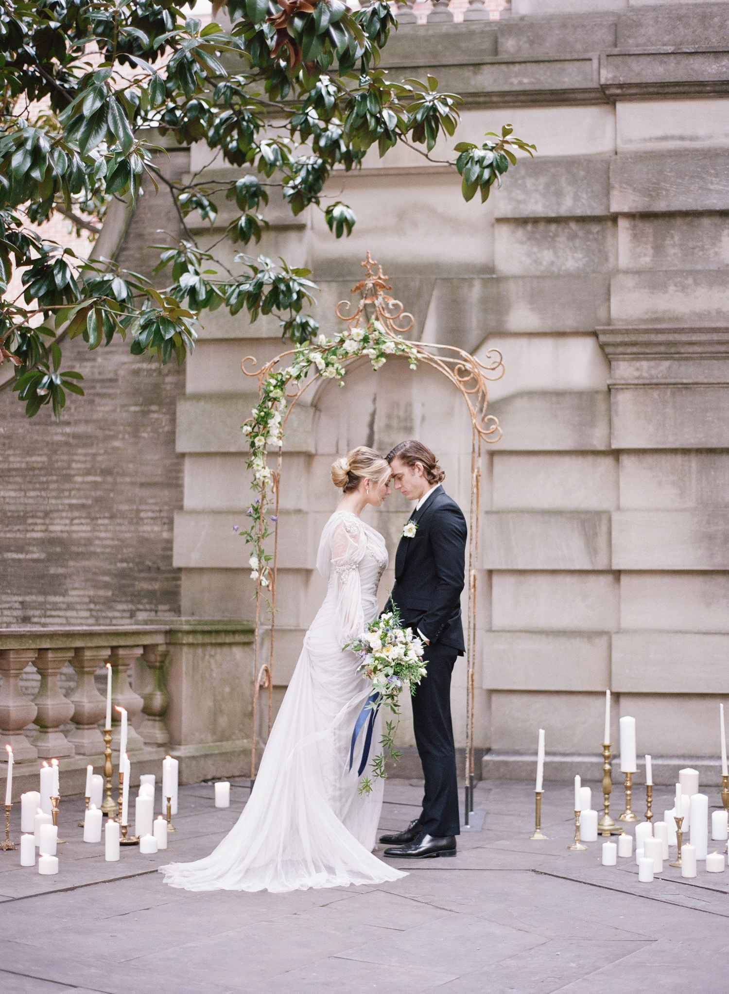 fine art film wedding ceremony inspiration in DC, Anderson House