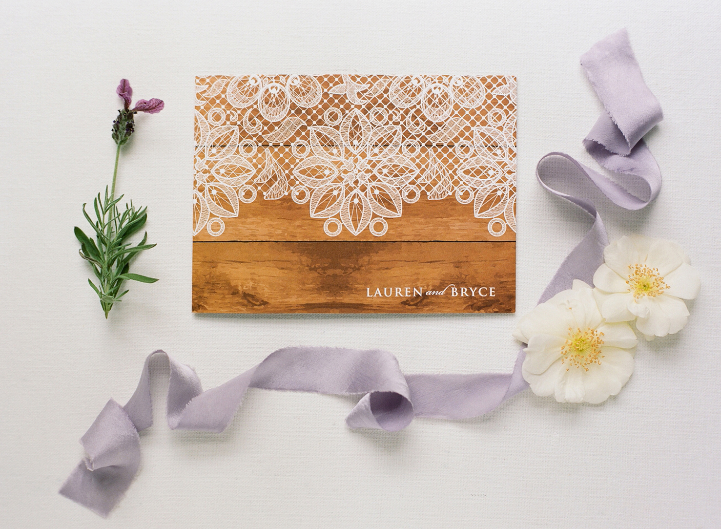 lavender and lace wedding invitation