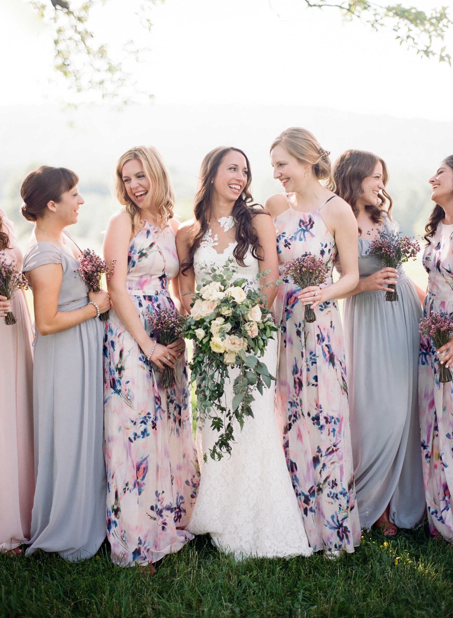 fine art wedding, mix and match bridesmaid dresses