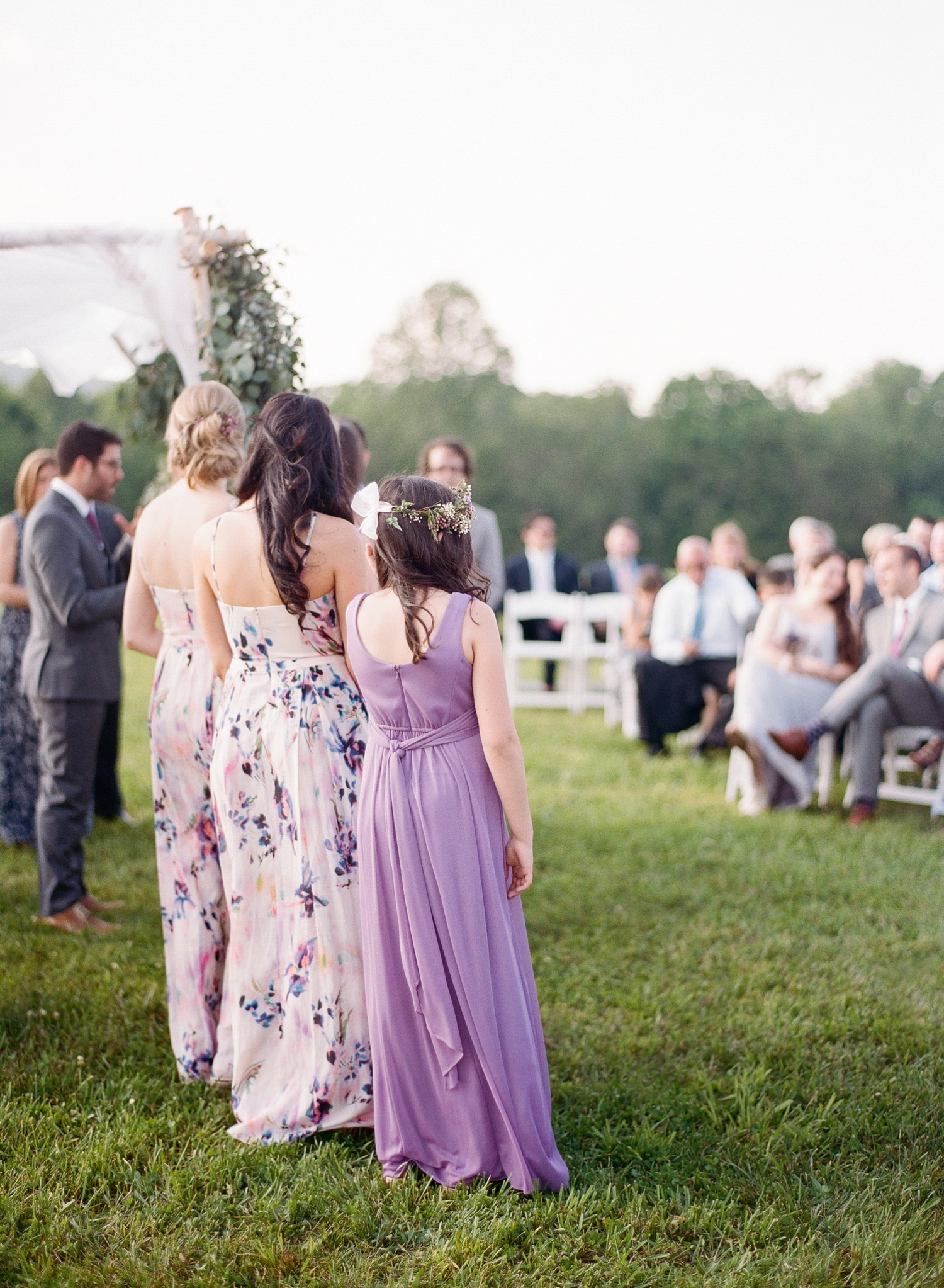 lavender inspired wedding ceremony, bridal party