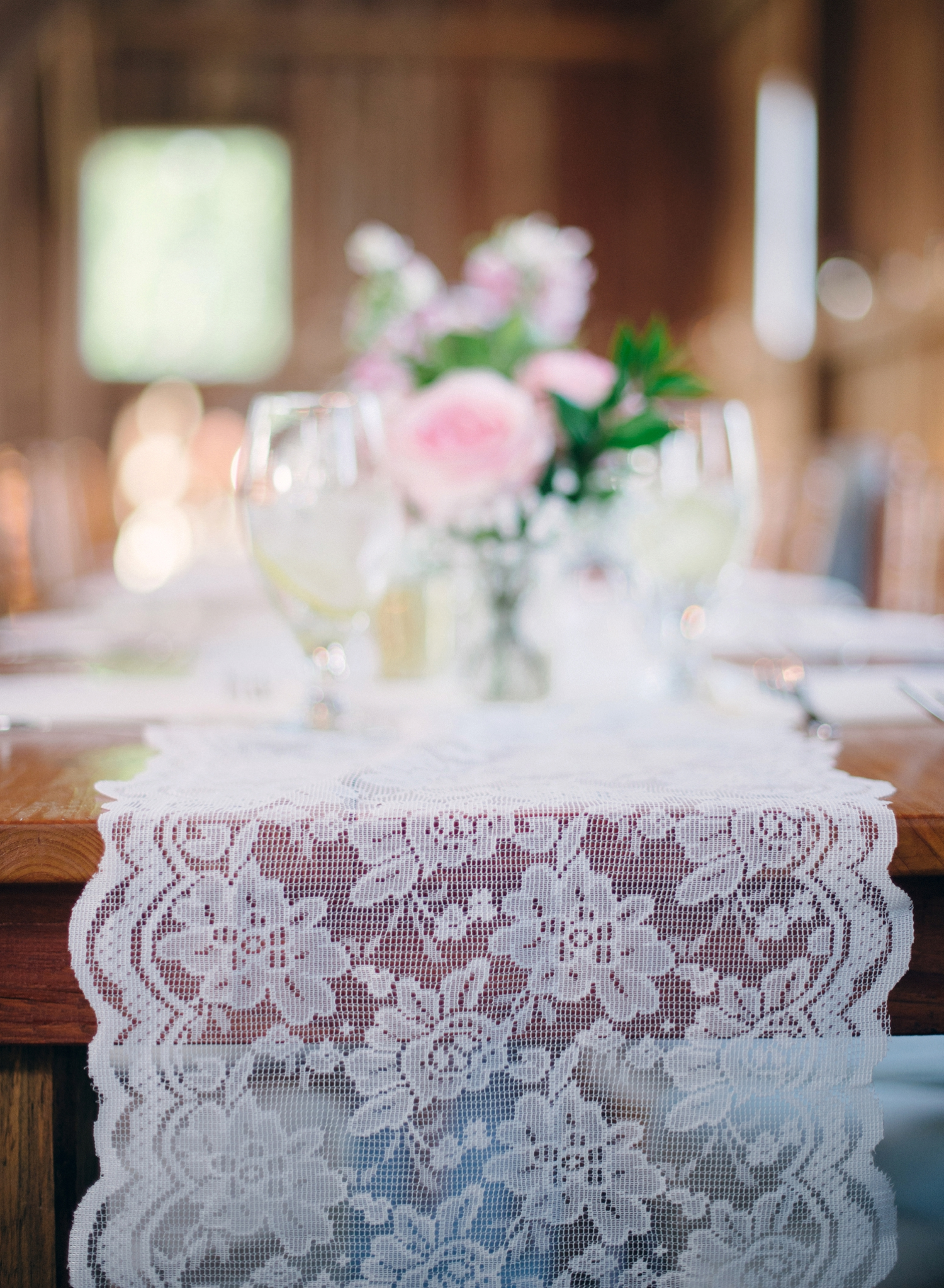 wildflower and lace reception decor