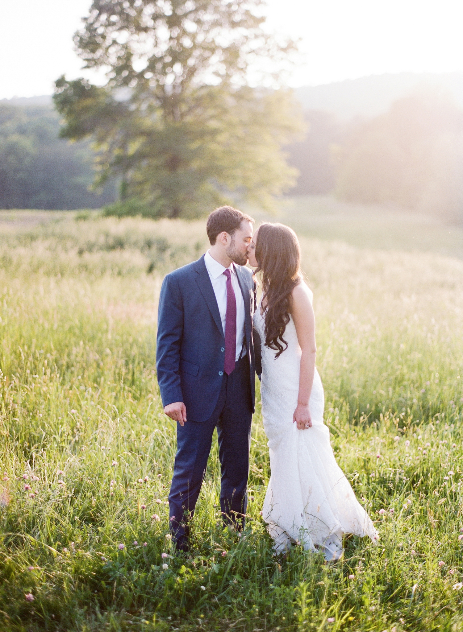 sunset portraits at springfield manor winery wedding