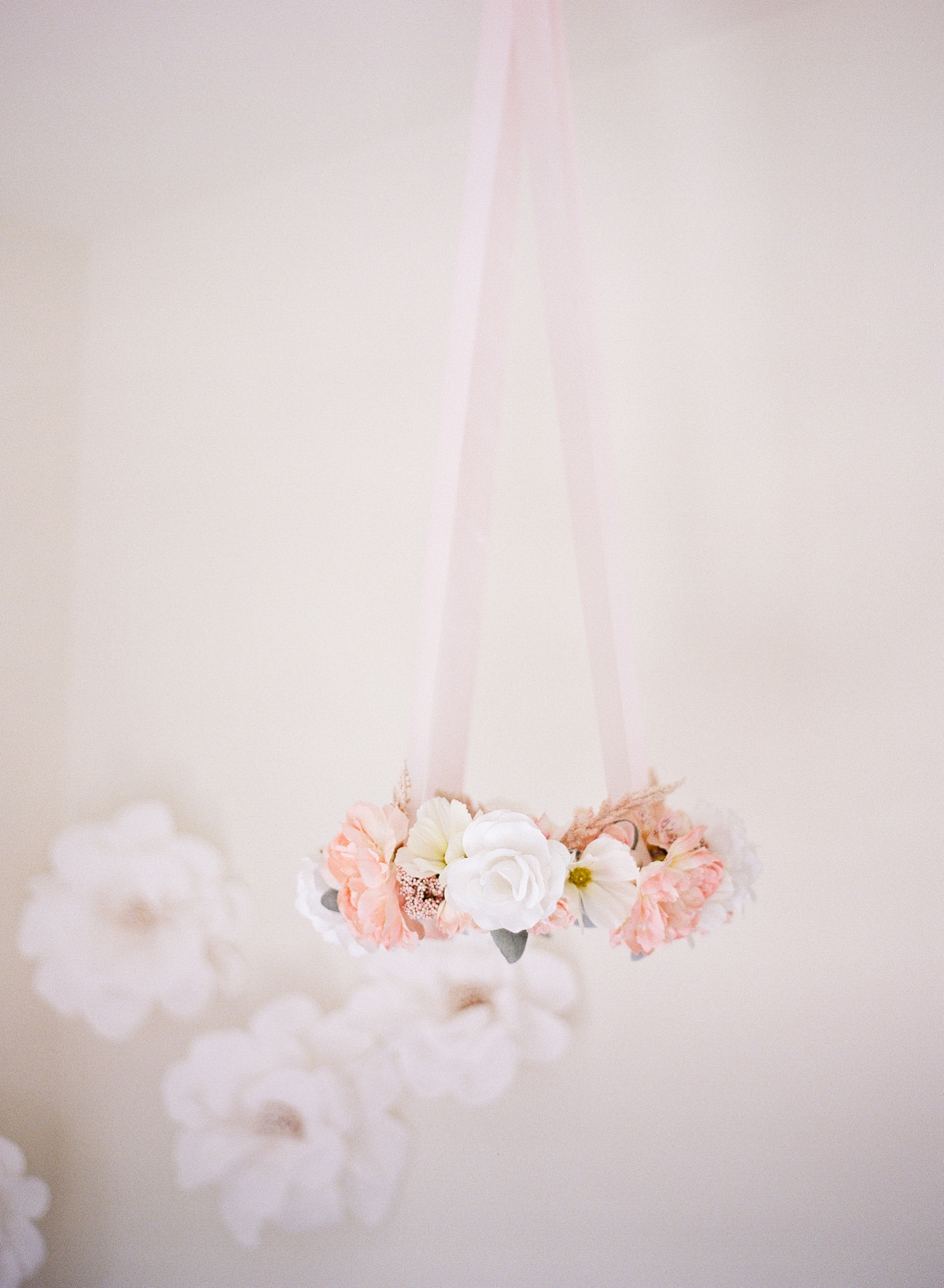 floral baby mobile; Baby Lily's Blush Nursery