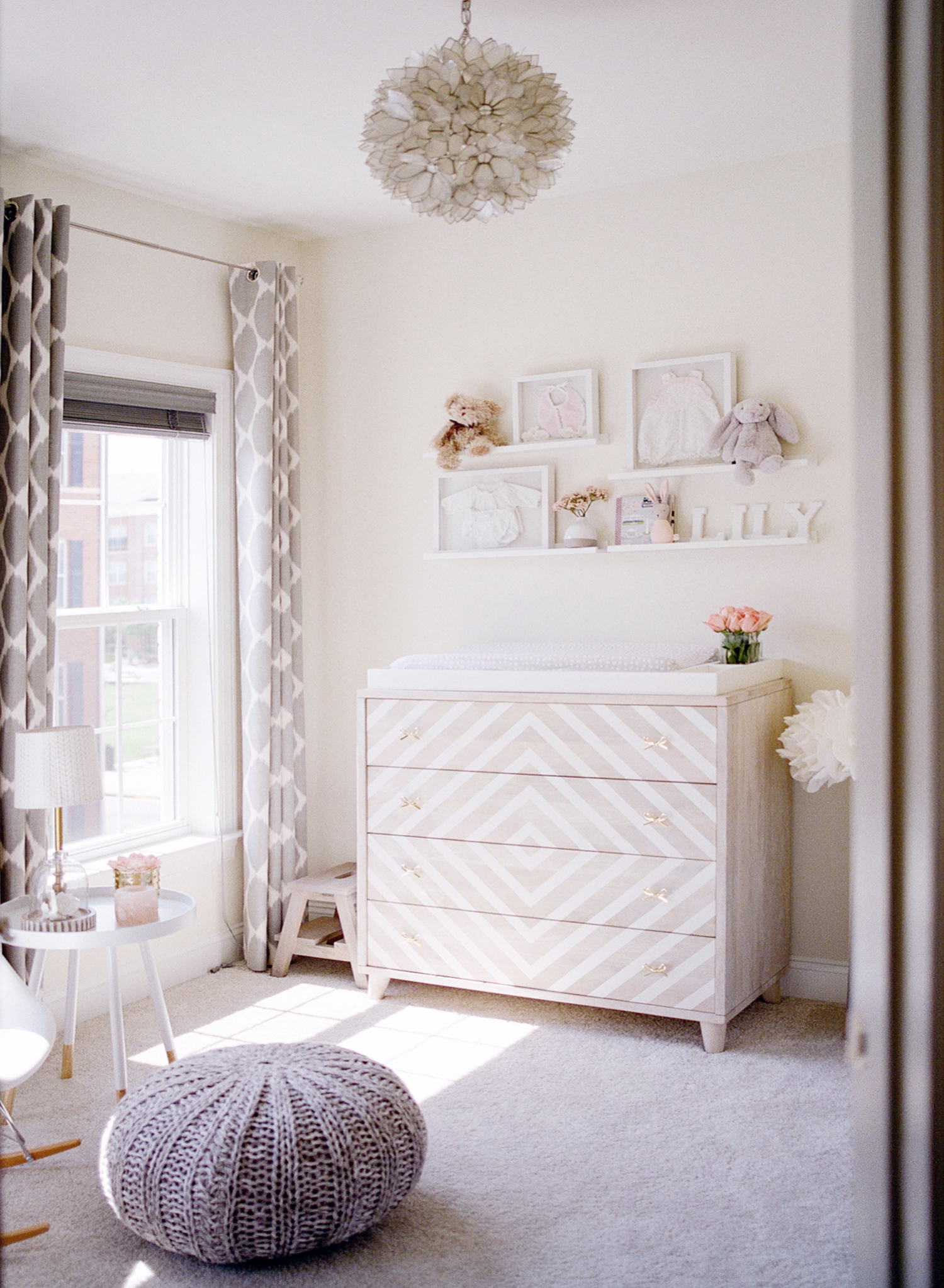 blush and gray nursery decor