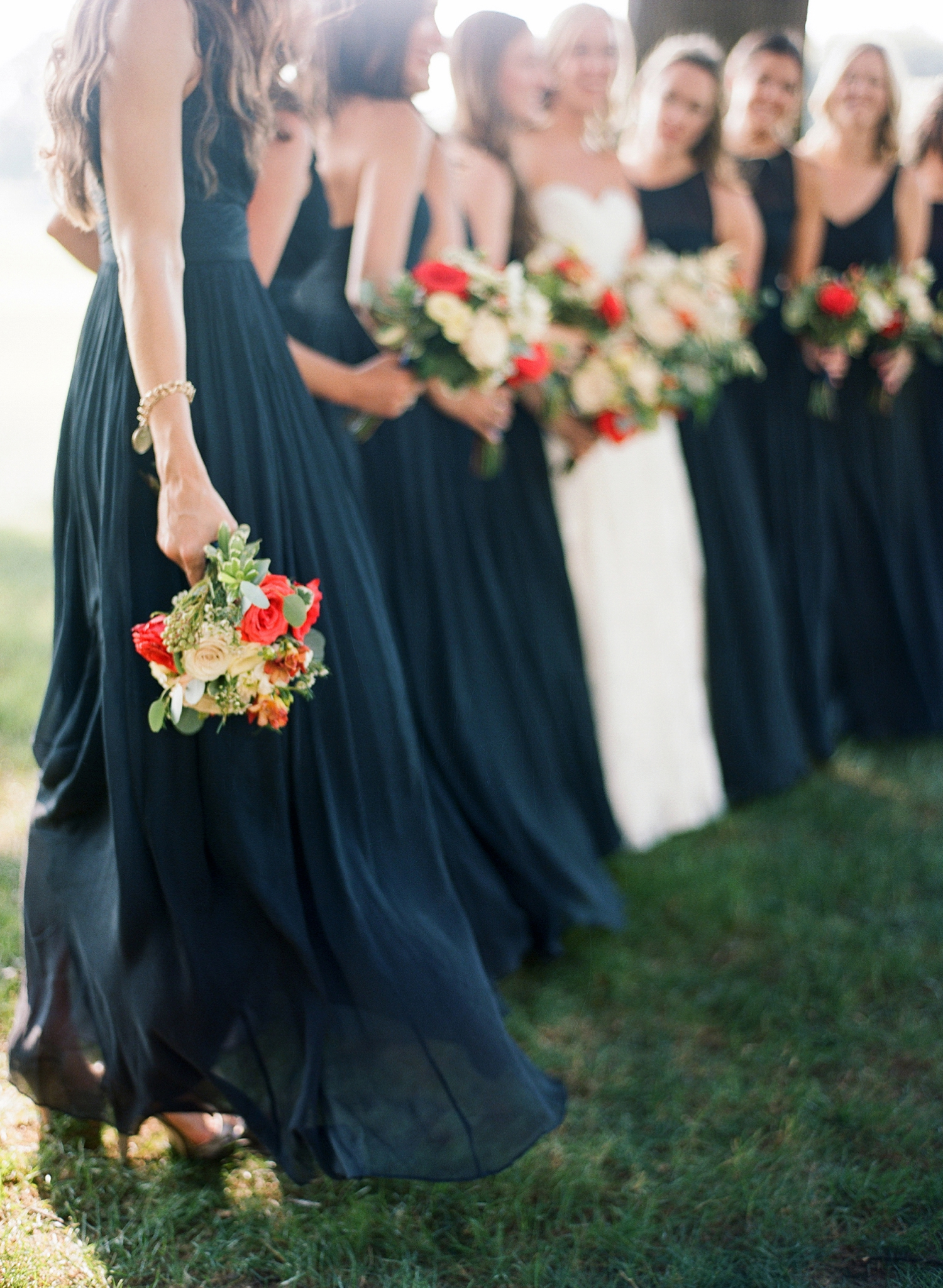navy and red bridal party