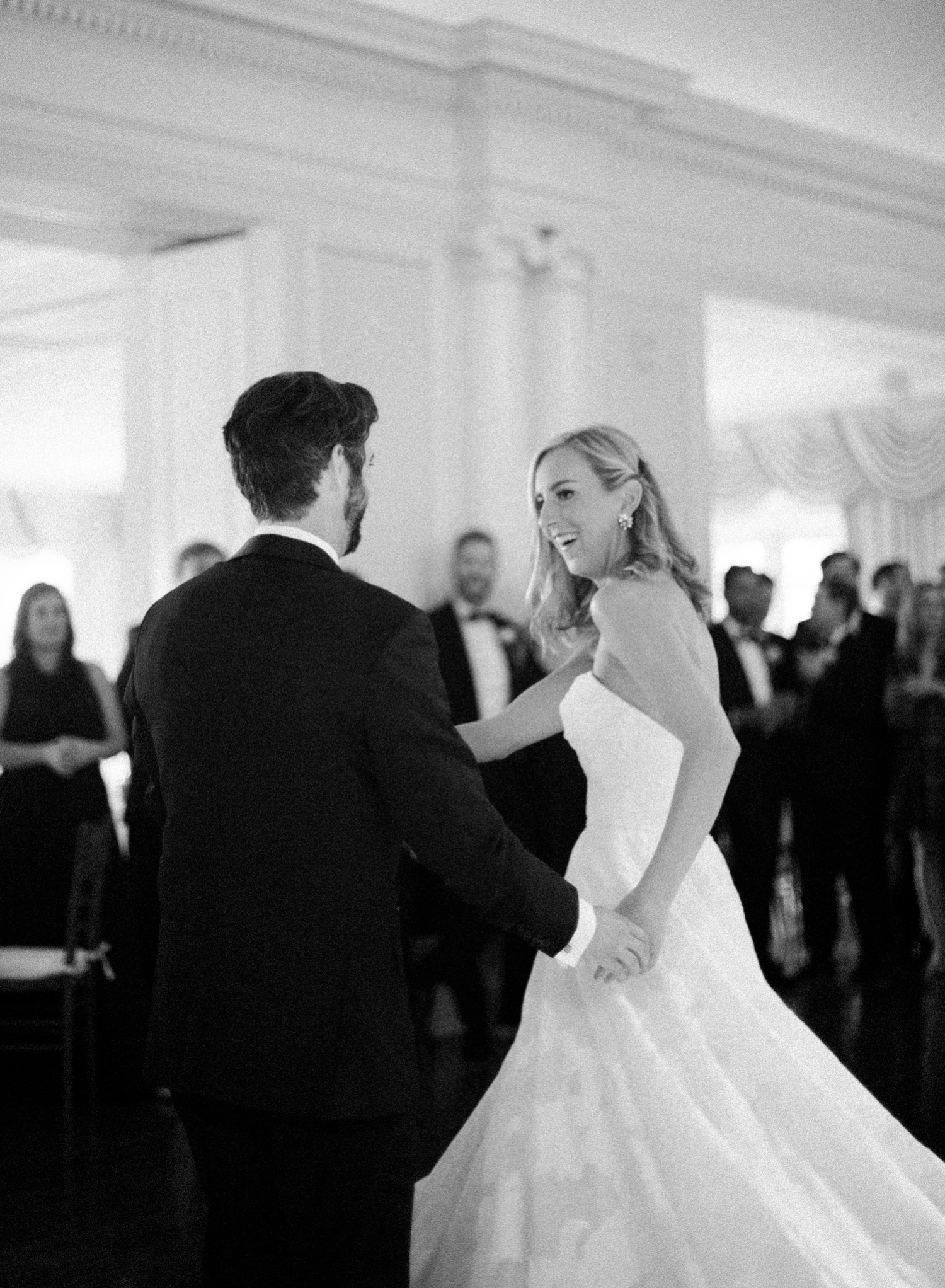 Black & white first dance fine art film wedding photographer, washington dc