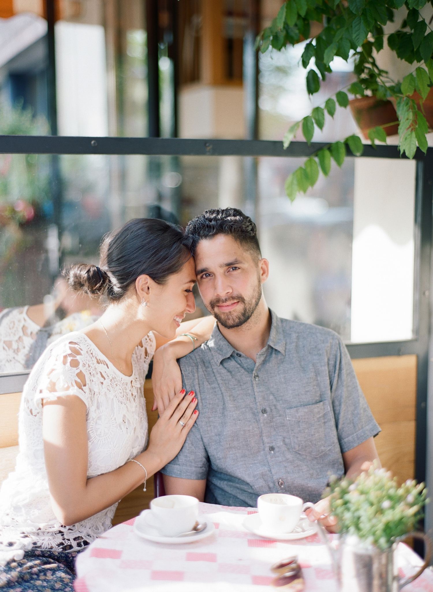 Coffee place engagement photos