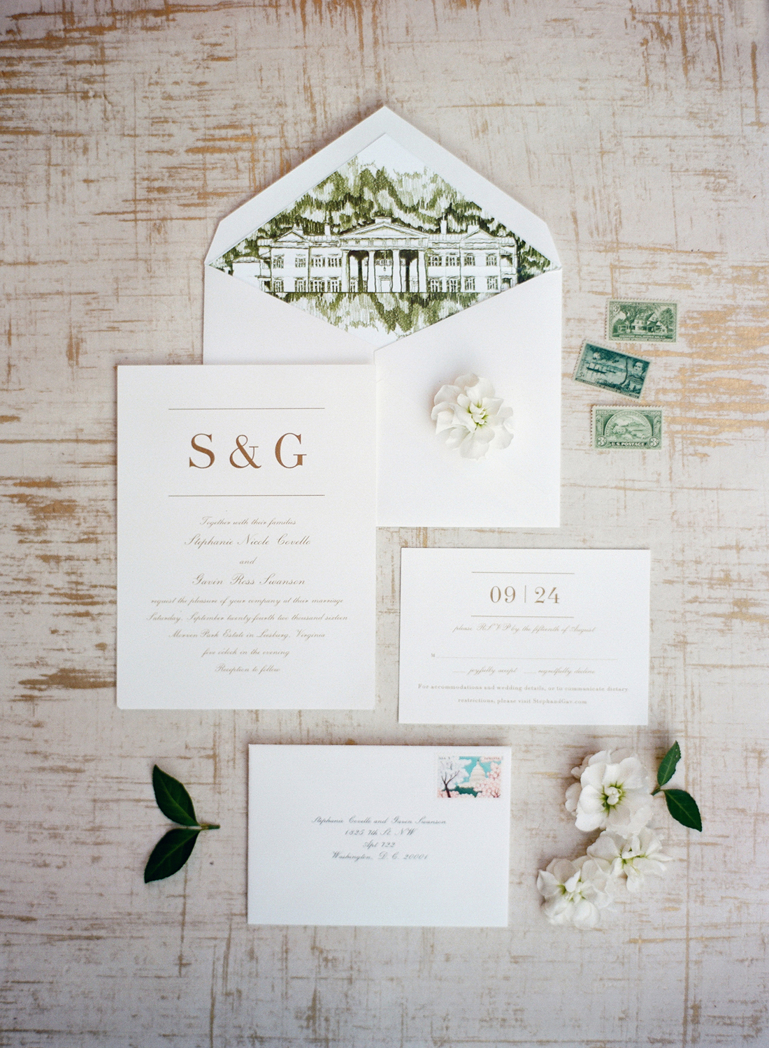 green and gold invitation suite styling