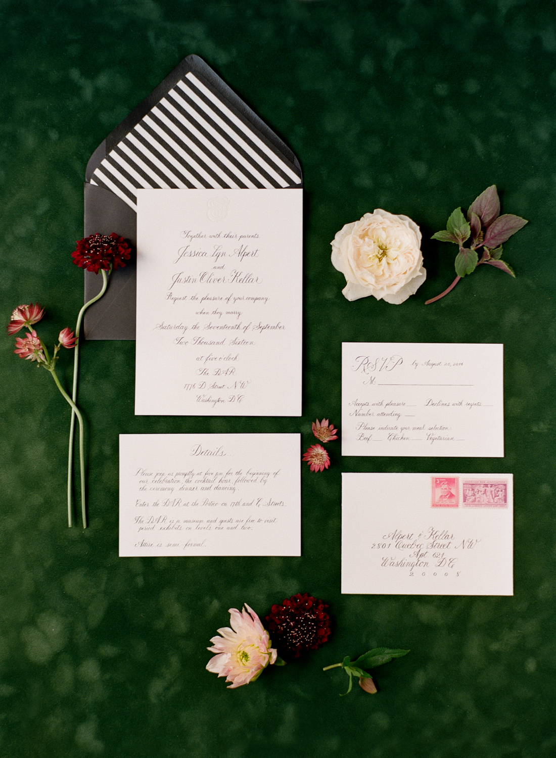 green and plum classic washington dc wedding invitation suite