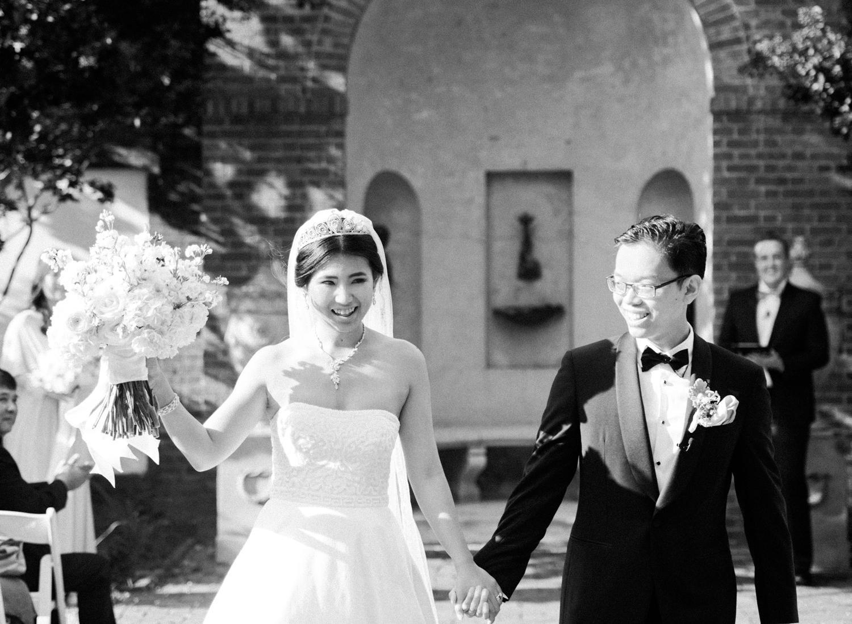dumbarton house dc fine art film wedding ceremony blakc & white