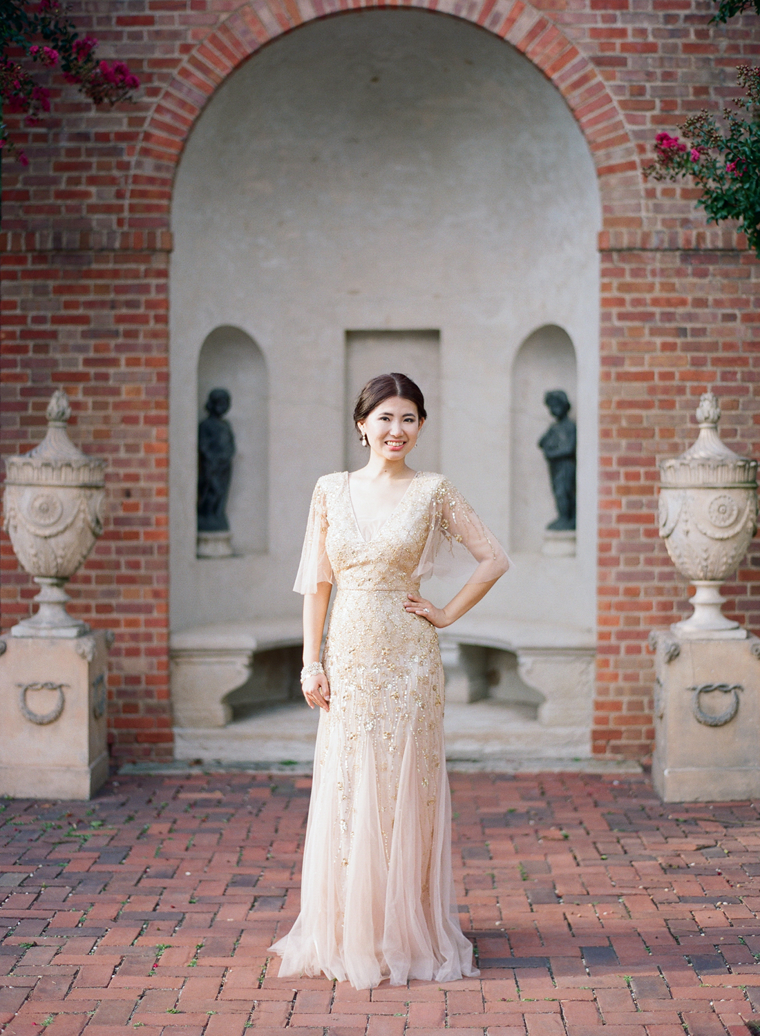 gold sequin bridal dress, fine art film washington dc wedding photographer