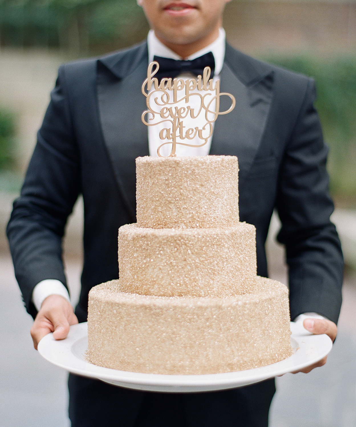 Gold sparkle Cake Wedding Details Washington DC