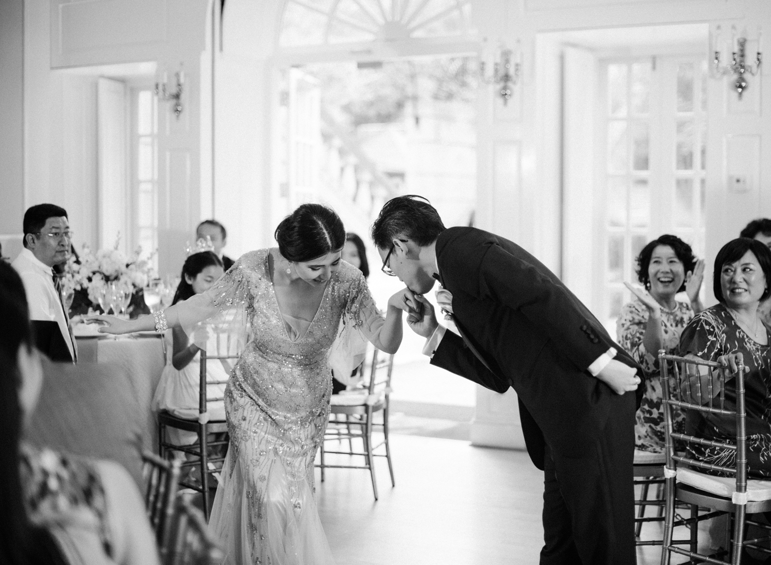 black and white film wedding reception, dumbarton house dc