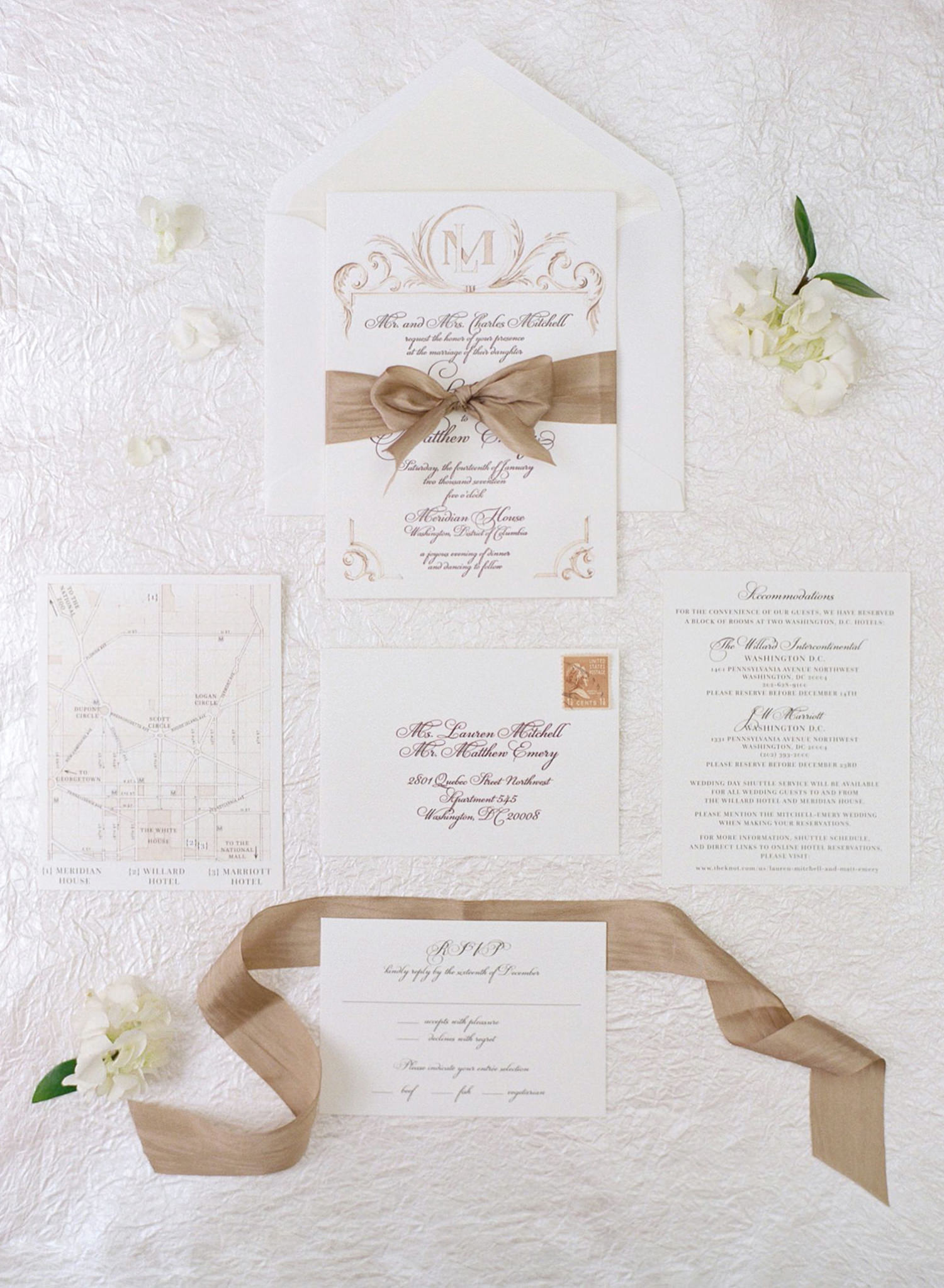 wedding stationery suite, fine art wedding dc