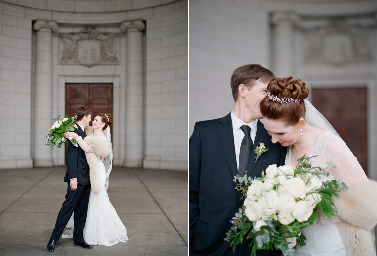 winter wedding portraits union station washington dc