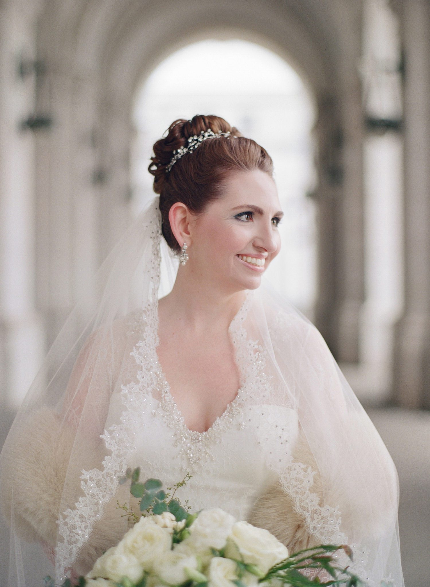 fine art winter white bridal portrait union station