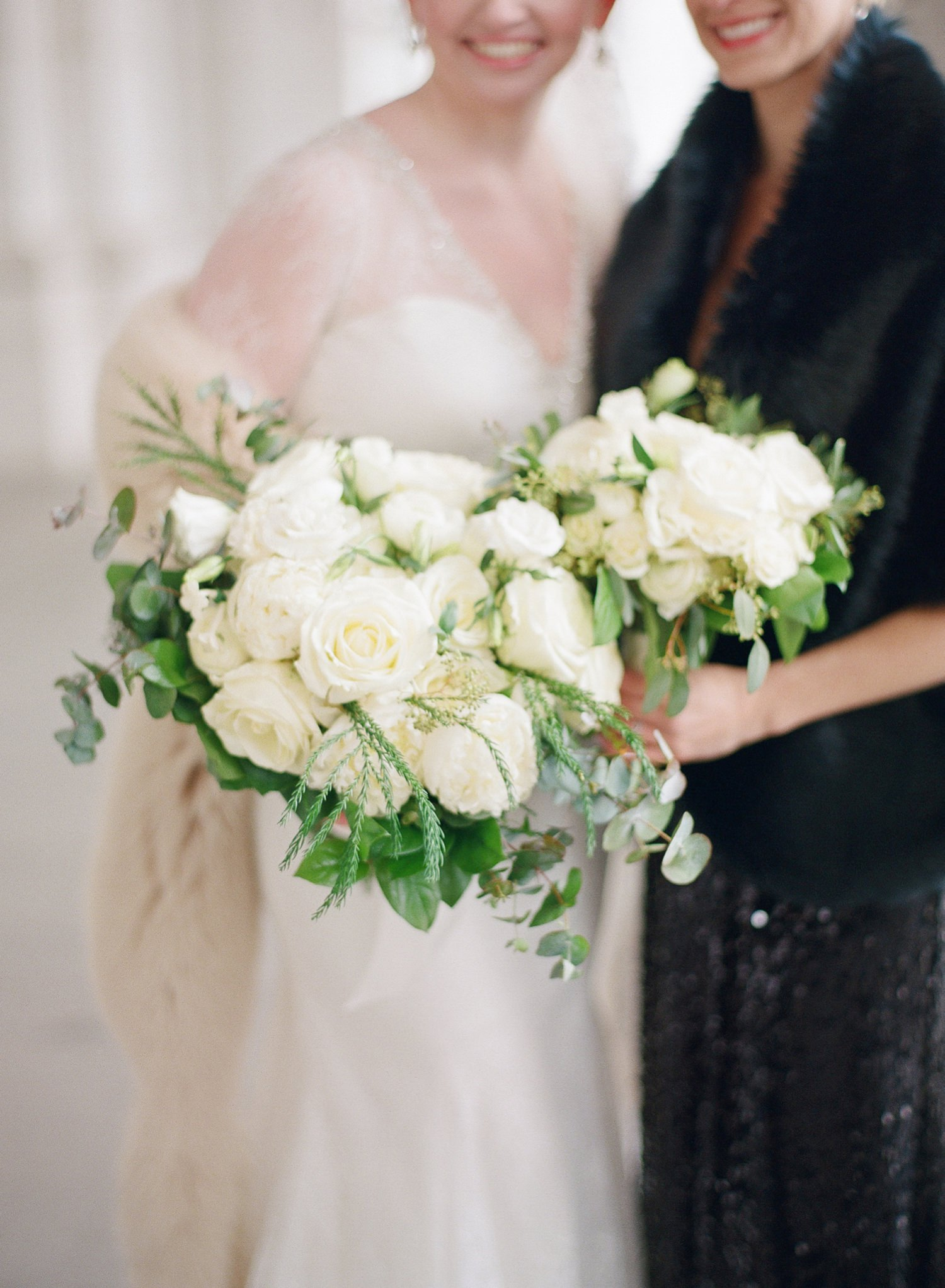 ivory and greenery bouquets
