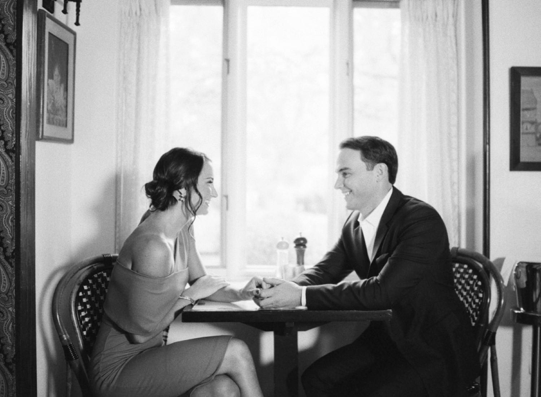romantic cafe engagement photos