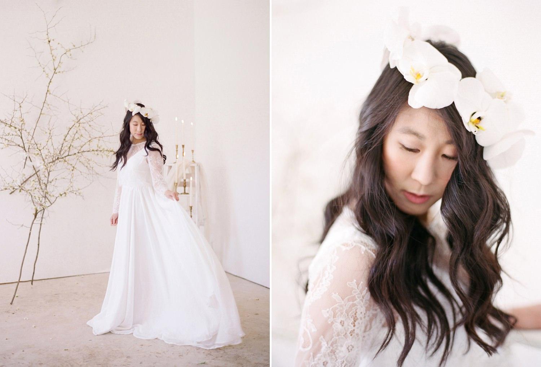 fine art film french bridal shoot