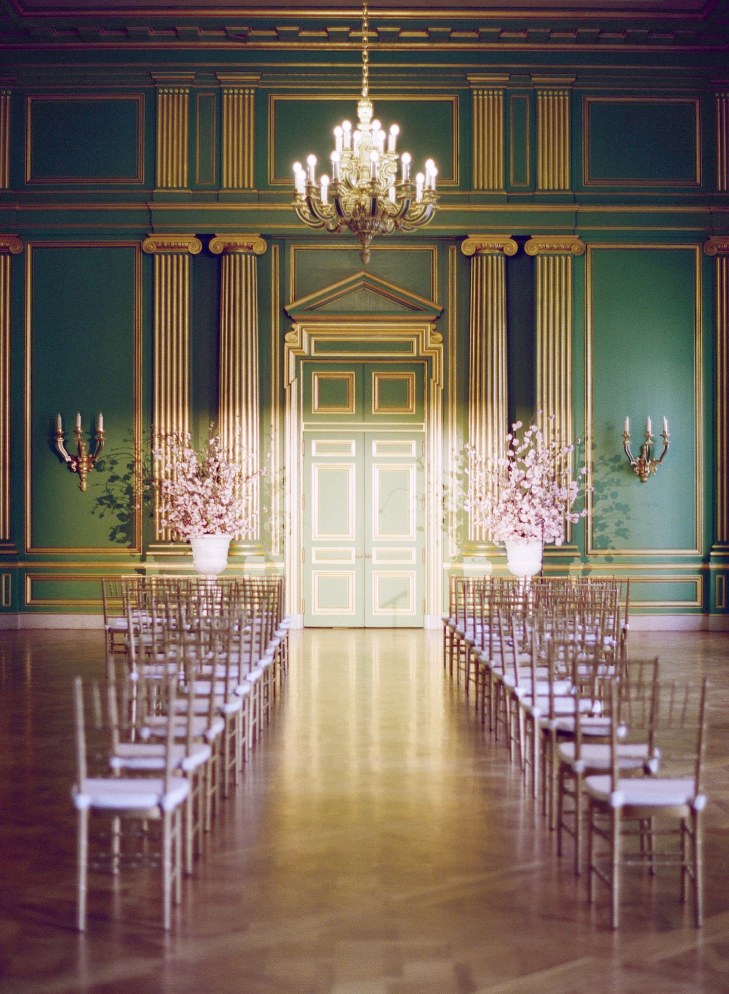 green room mellon auditorium wedding ceremony