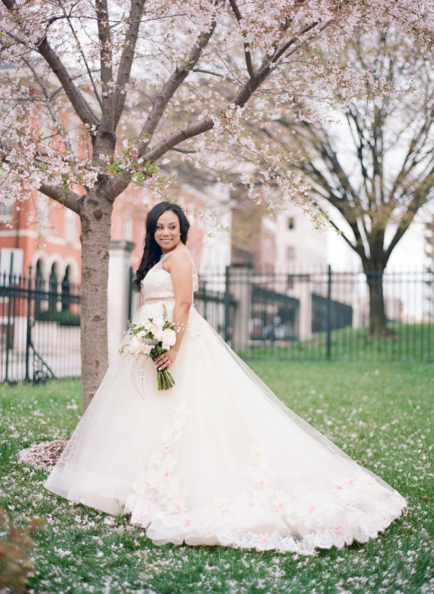 cherry blossom peabody library wedding