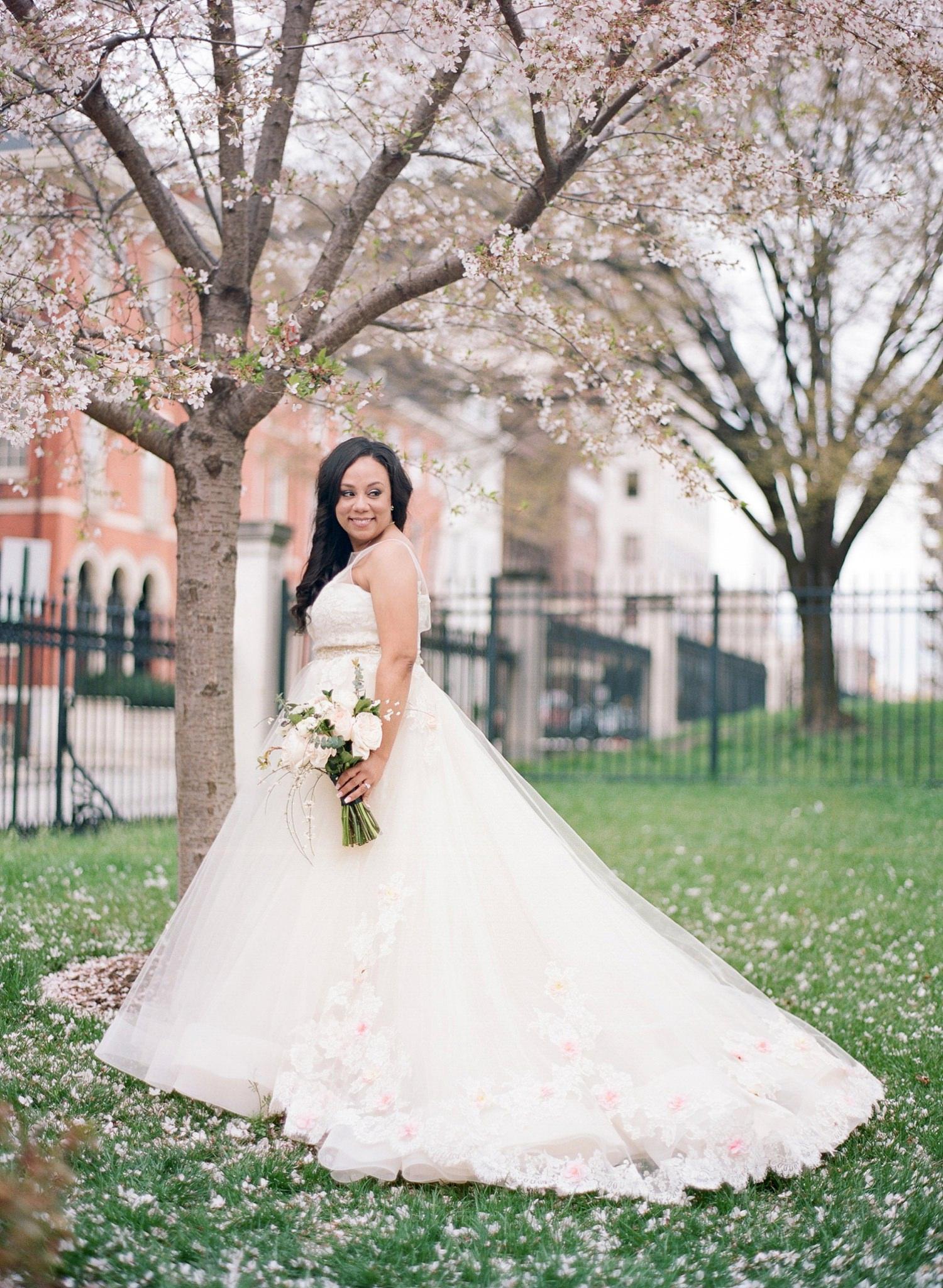 cherry blossom peabody library wedding