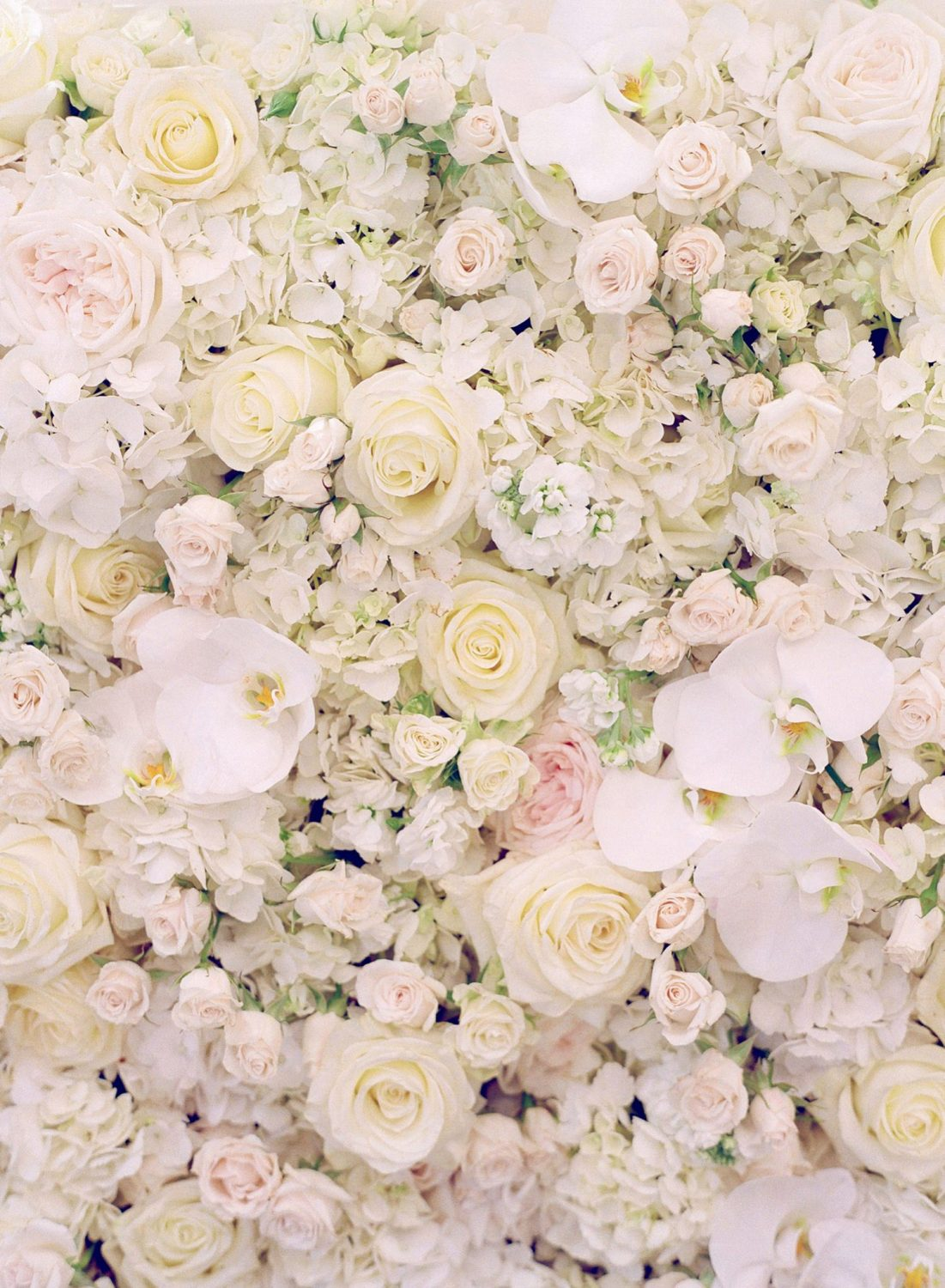 white floral wall four seasons wedding