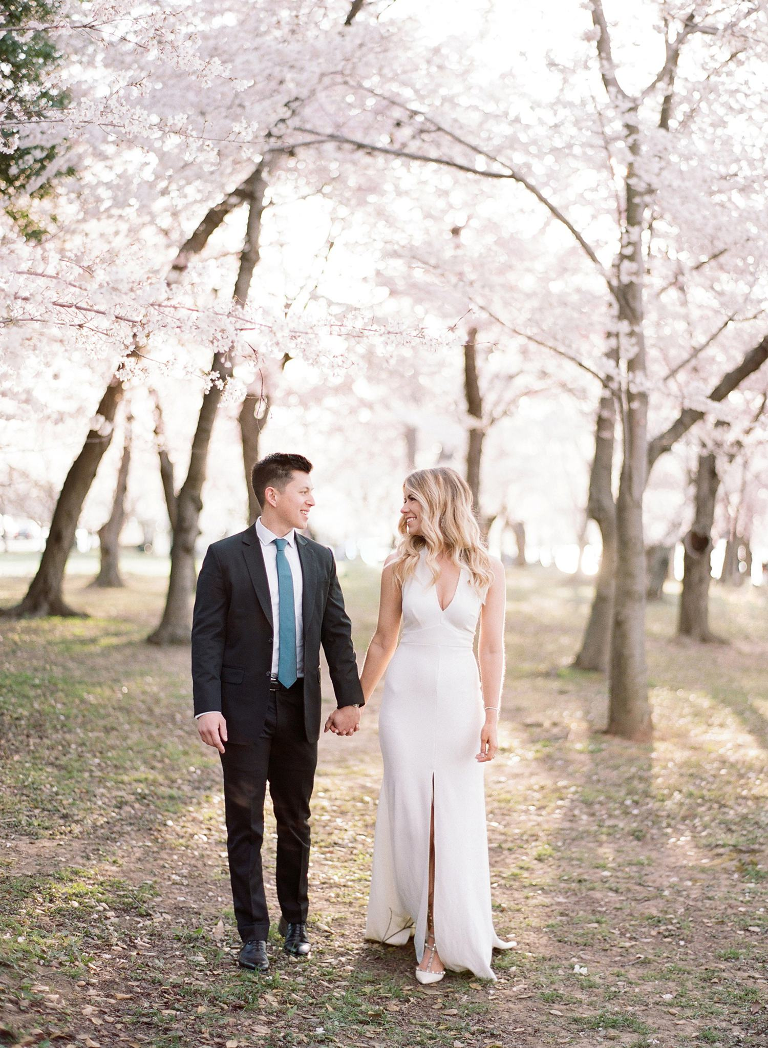 DC sunrise cherry blossom engagement session