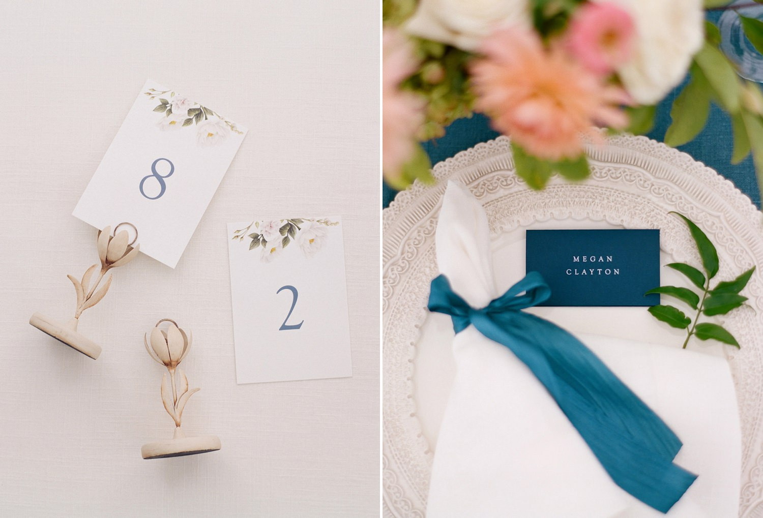 blue and coral wedding inspo
